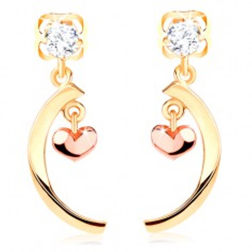 Šperky eshop Dvojfarebné náušnice zo 14K zlata - lesklý oblúk, malé vypuklé srdiečko