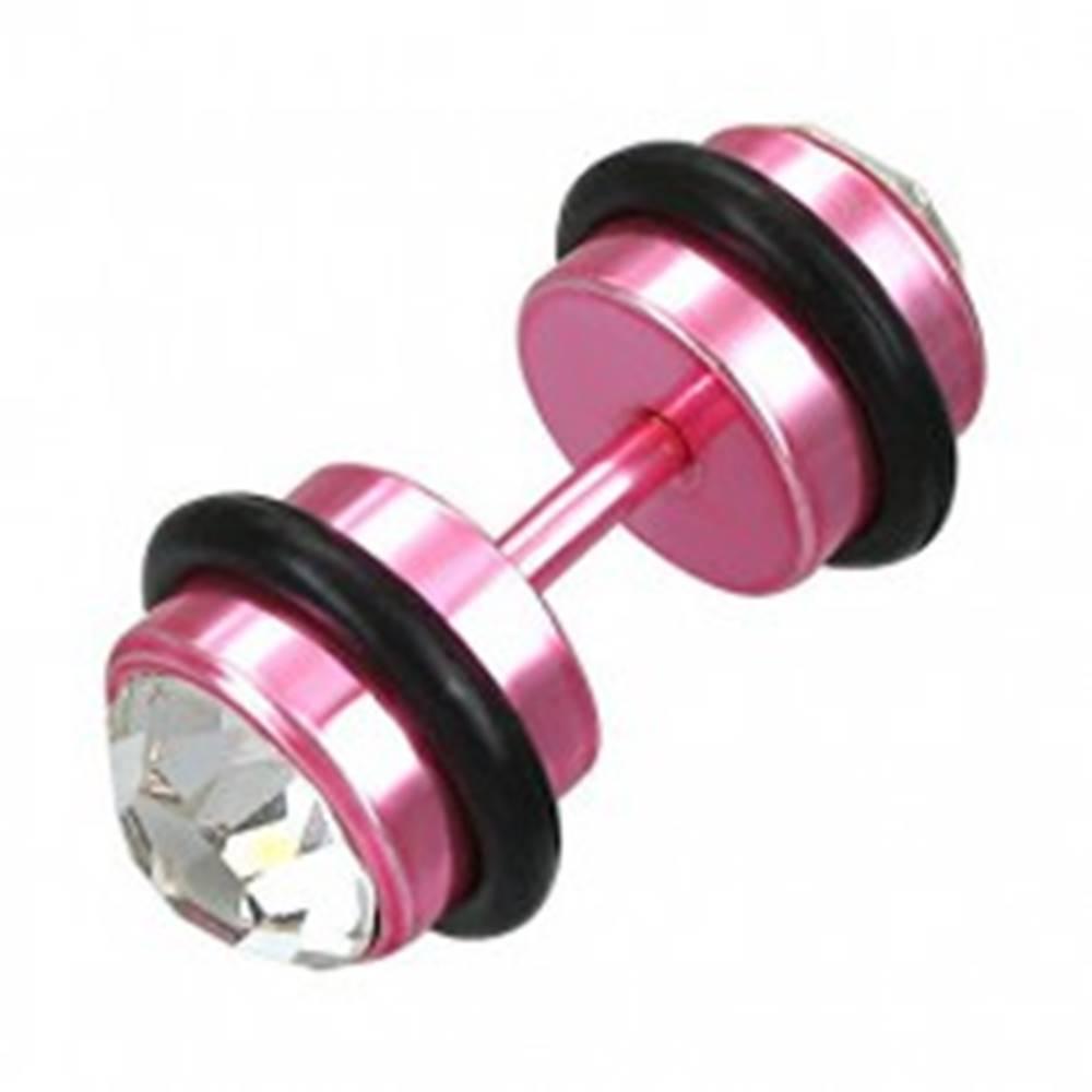 Šperky eshop Falošný piercing ružový so zirkónmi