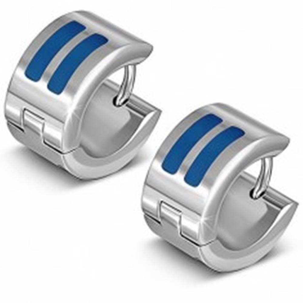 Šperky eshop Lesklé náušnice striebornej farby z ocele, kruhy s modrými pásmi