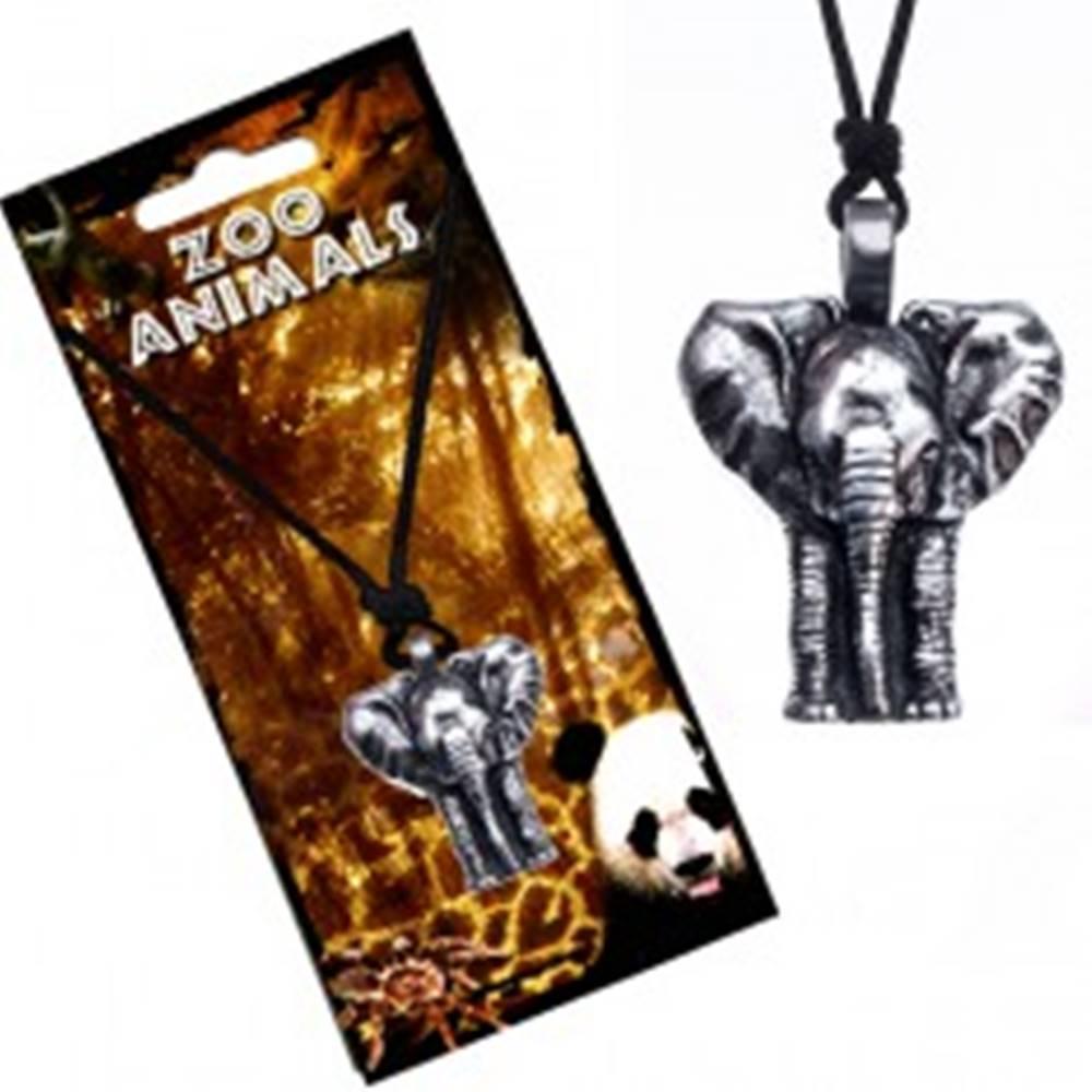 Šperky eshop Náhrdelník na šnúrke, patinovaný prívesok slona