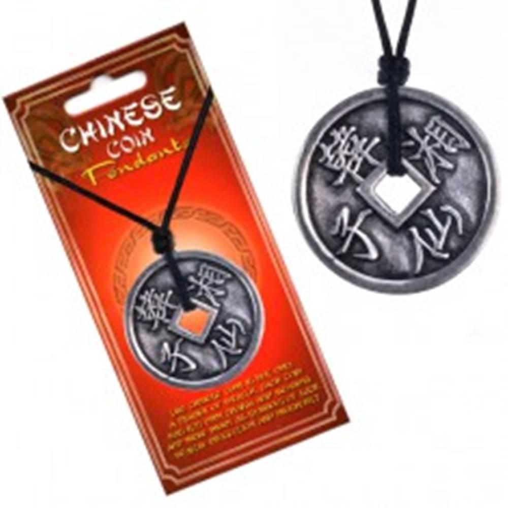 Šperky eshop Náhrdelník s príveskom mince, čínske znaky a hladký okraj