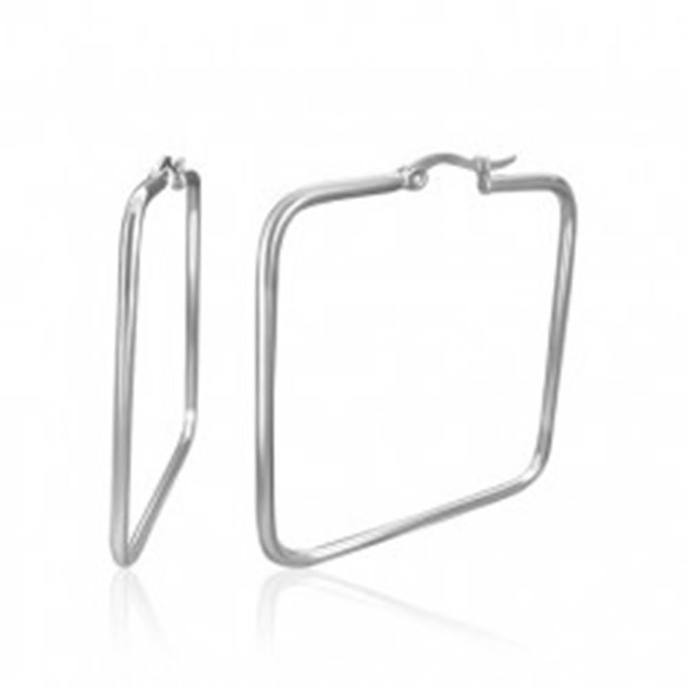Šperky eshop Náušnice z chirurgickej ocele - štvorce, strieborná farba, 35 mm