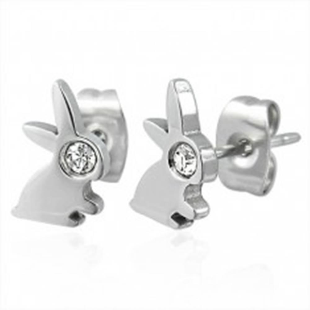 Šperky eshop Náušnice z ocele 316L striebornej farby - zajko so zirkónovým očkom