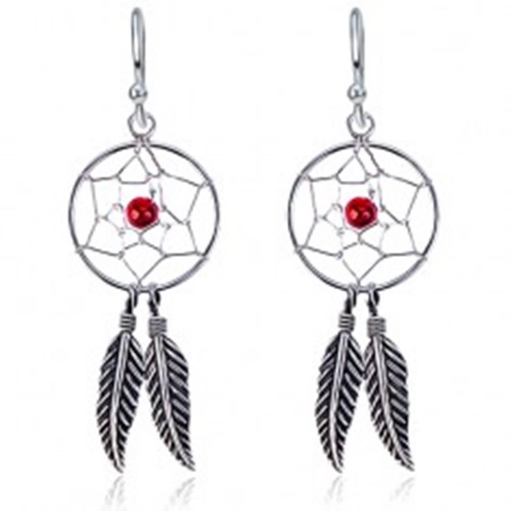 Šperky eshop Náušnice zo striebra 925 - lapač snov, pierka, červená korálka, háčiky