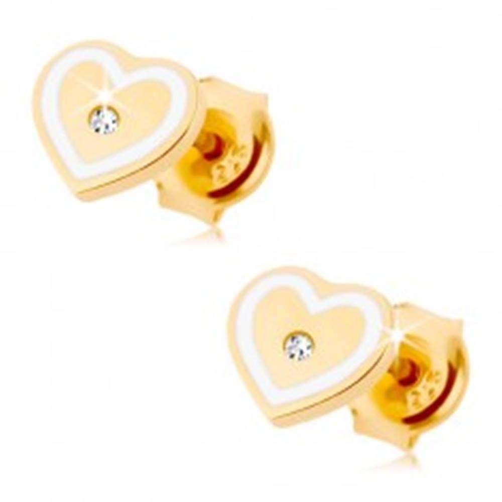 Šperky eshop Náušnice zo žltého 14K zlata - srdiečko so zirkónikom a obrysom z bielej glazúry
