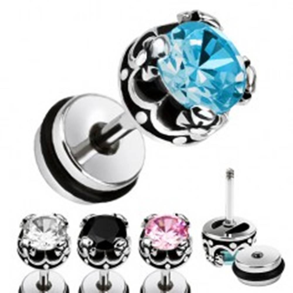 Šperky eshop Oceľový fake plug do ucha, okrúhly zirkón, kráľovská koruna - Farba zirkónu: Aqua modrá - Q