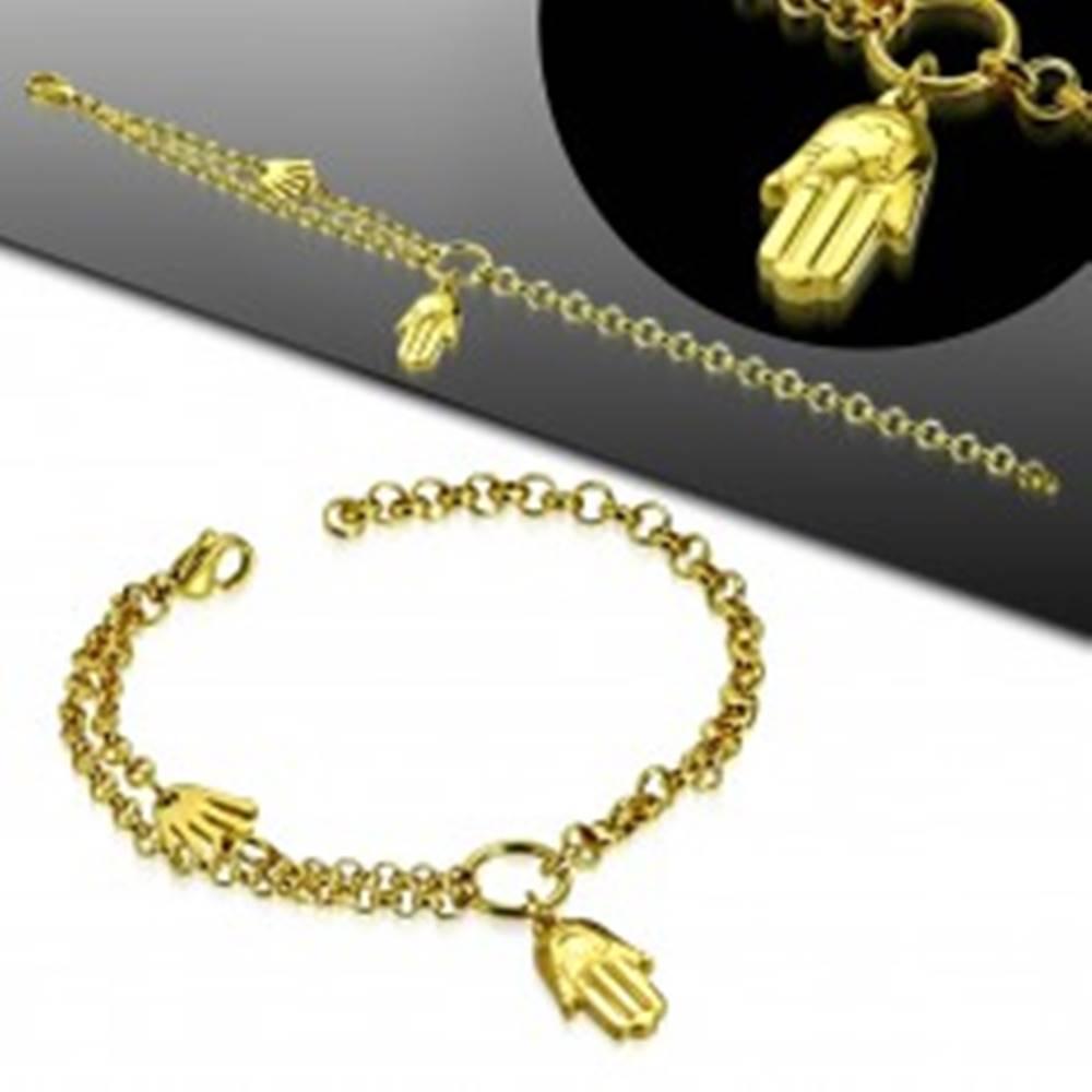 Šperky eshop Oceľový náramok zlatej farby, dve ruky Fatimy, kruh a dvojitá retiazka