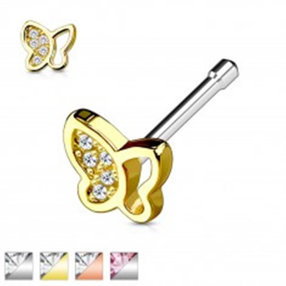 Šperky eshop Oceľový piercing do nosa, motýlik so vsadenými trblietavými zirkónikmi - Farba piercing: Medená - číra