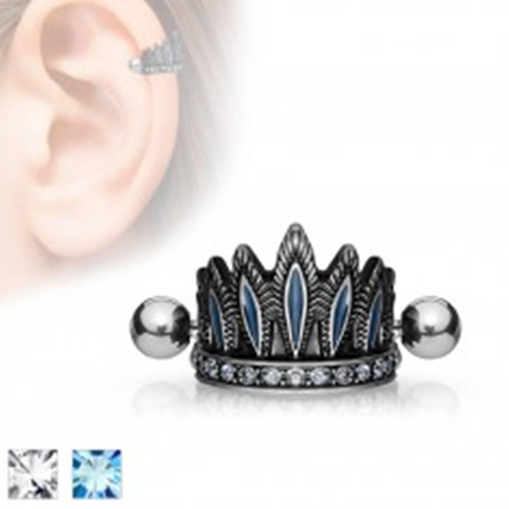 Šperky eshop Oceľový piercing do ucha, patinovaná čelenka, činka s guličkami - Farba zirkónu: Aqua modrá - Q