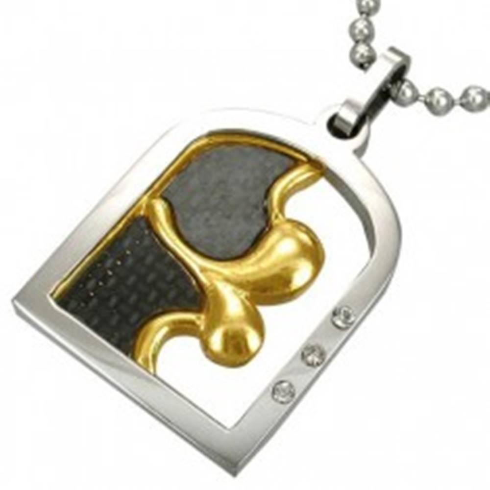 Šperky eshop Oceľový prívesok FIRST KISS so zirkónmi