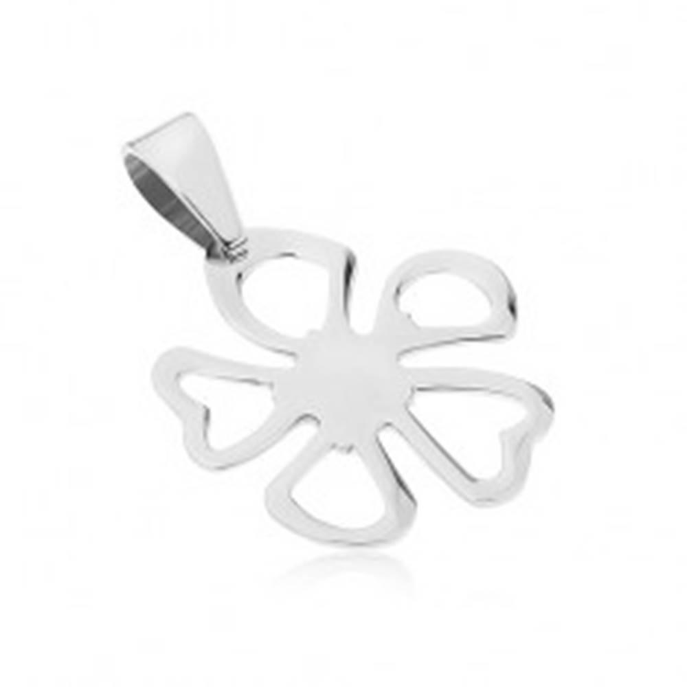 Šperky eshop Oceľový prívesok striebornej farby, kvet s obrysmi nesúmerných lupeňov