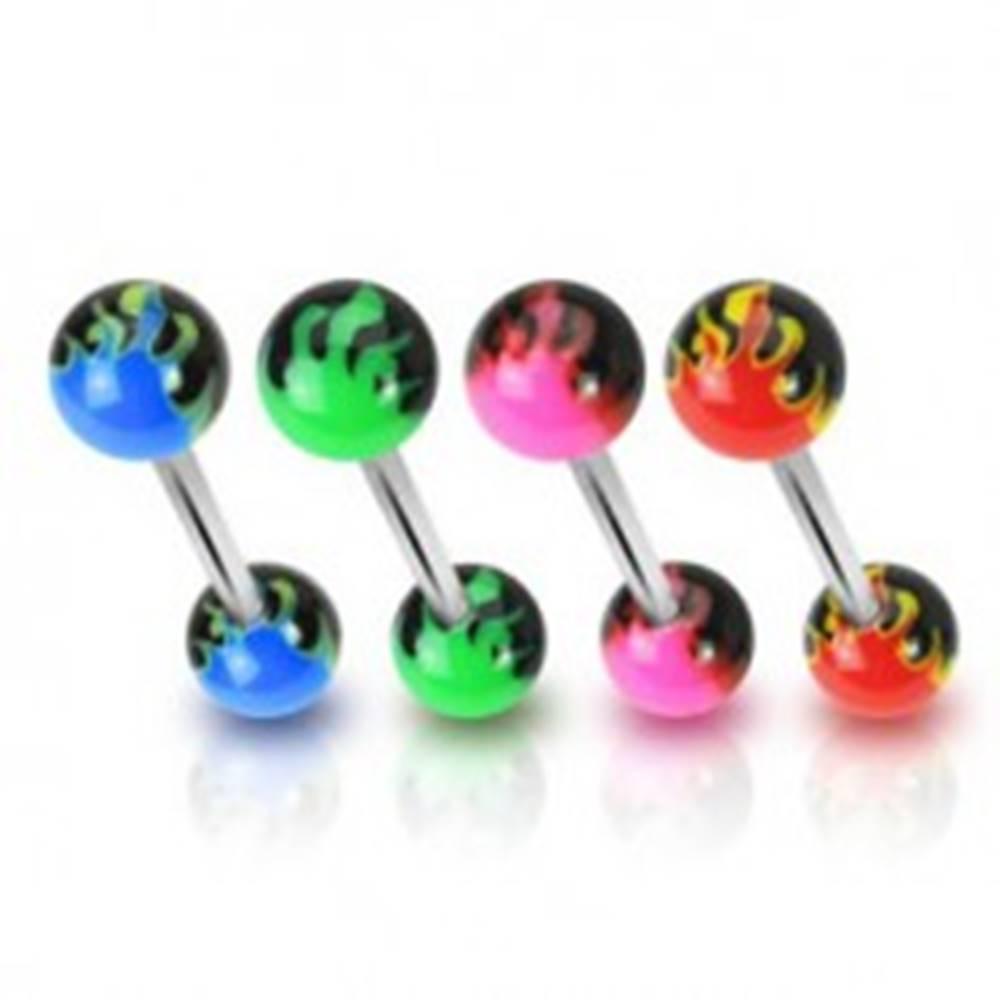 Šperky eshop Piercing do jazyka - farebné plamene - Farba piercing: Červená