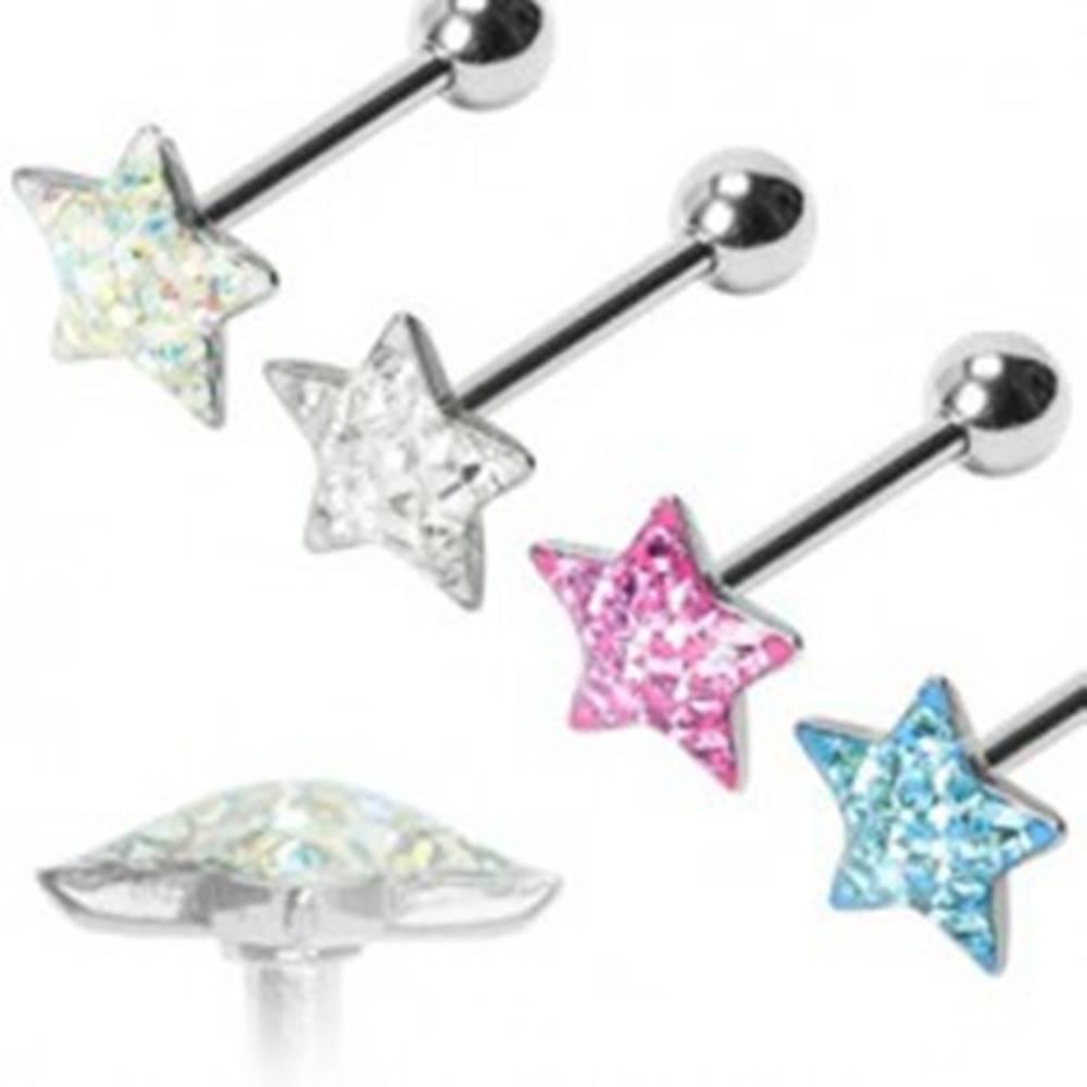 Šperky eshop Piercing do jazyka Trblietavá hviezda - Farba piercing: Aqua