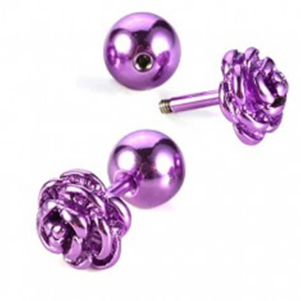 Šperky eshop Piercing do tragusu - rozkvitnutá ruža - Farba piercing: Červená