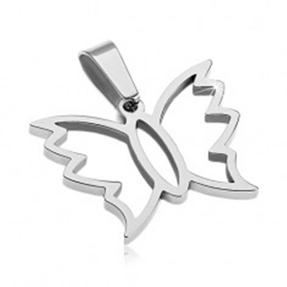Šperky eshop Prívesok z ocele 316L - kontúra motýlika so zvlnenými okrajmi krídiel