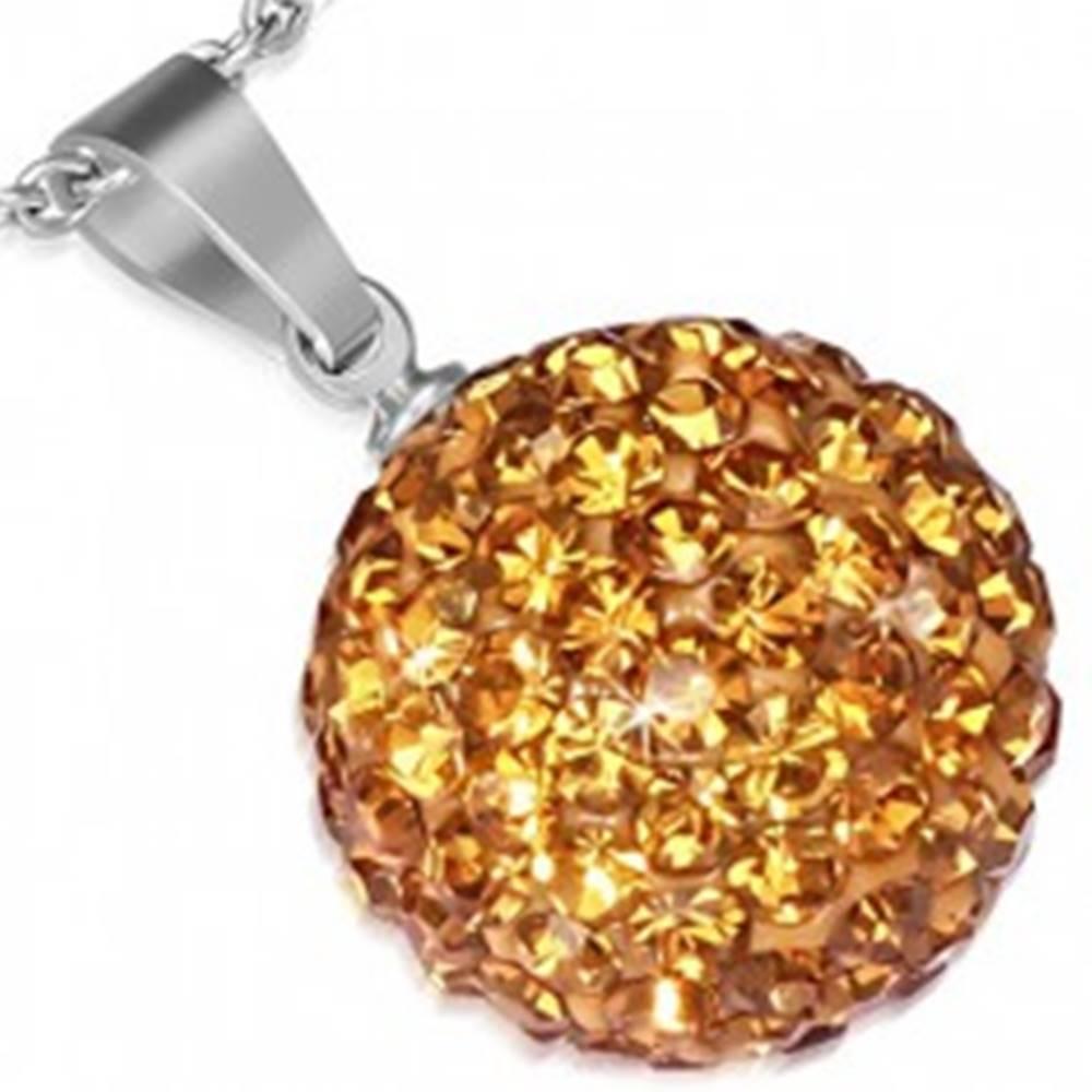 Šperky eshop Prívesok z ocele - oranžovozlatá gulička, trblietavé zirkóny, 12 mm