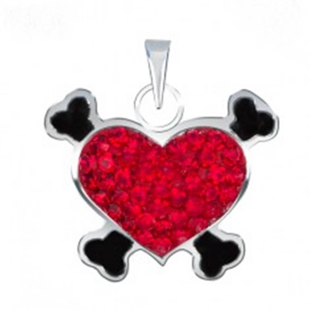 Šperky eshop Prívesok zo striebra 925 - červené pirátske srdce so zirkónmi