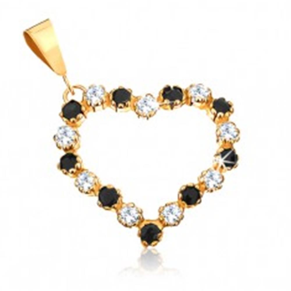 Šperky eshop Prívesok zo žltého 9K zlata - obrys srdca s čírymi zirkónmi a čiernymi zafírmi