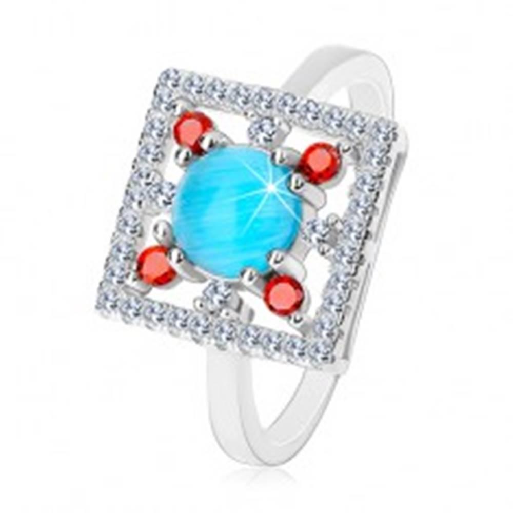 Šperky eshop Prsteň zo striebra 925, číry zirkónový štvorec, svetlomodrý kruh v strede - Veľkosť: 48 mm