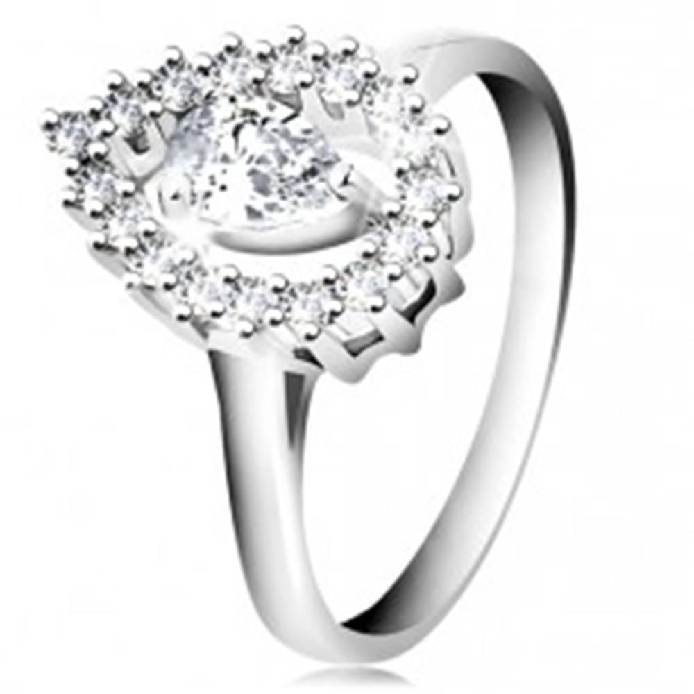 Šperky eshop Prsteň zo striebra 925, kontúra veľkej obrátenej kvapky s čírou slzičkou - Veľkosť: 47 mm