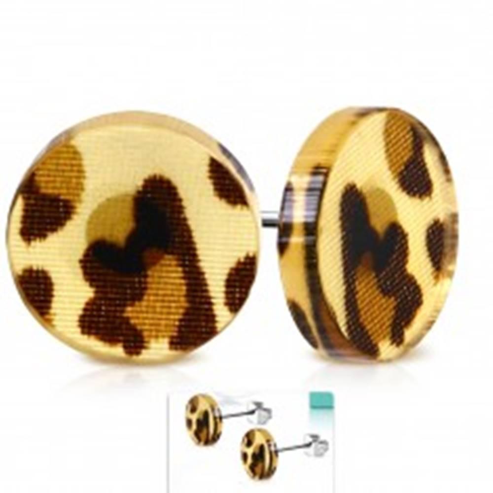 Šperky eshop Puzetové náušnice z ocele 316L, akrylový kruh s hnedými leopardími škvrnami