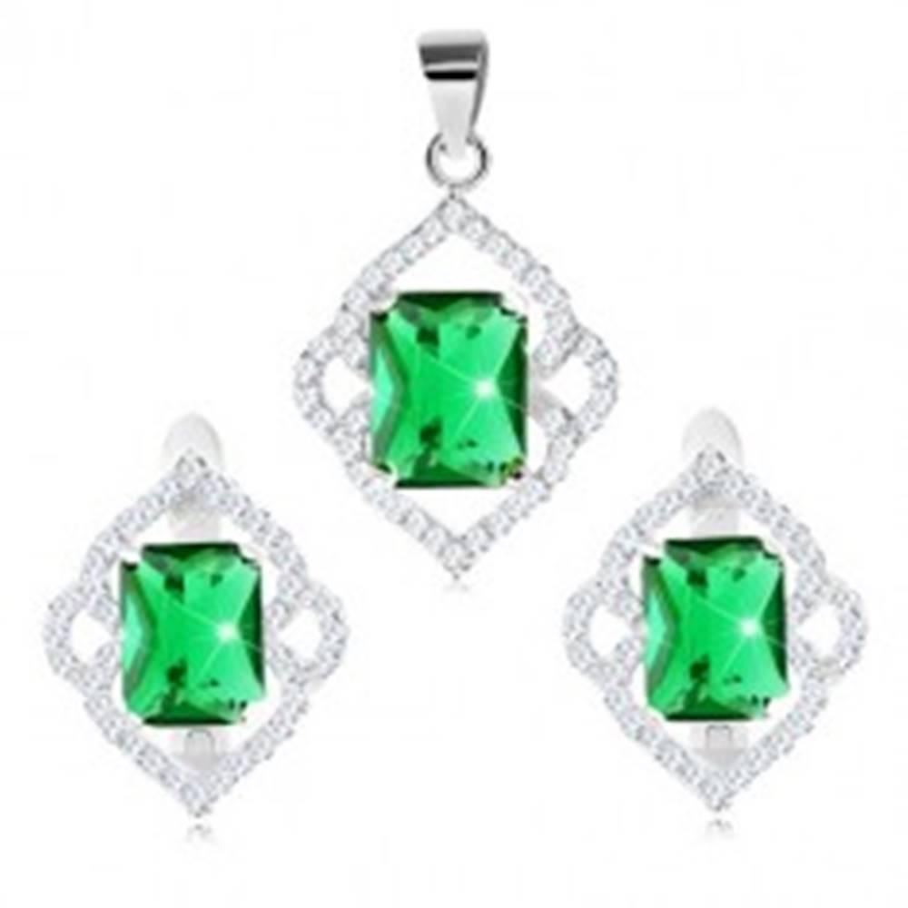 Šperky eshop Set zo striebra 925, náušnice a prívesok, zelený zirkónový obdĺžnik, číre obrysy