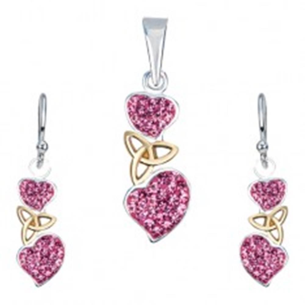 Šperky eshop Strieborná sada 925 - náušnice a prívesok, ružové srdcia, keltský uzol