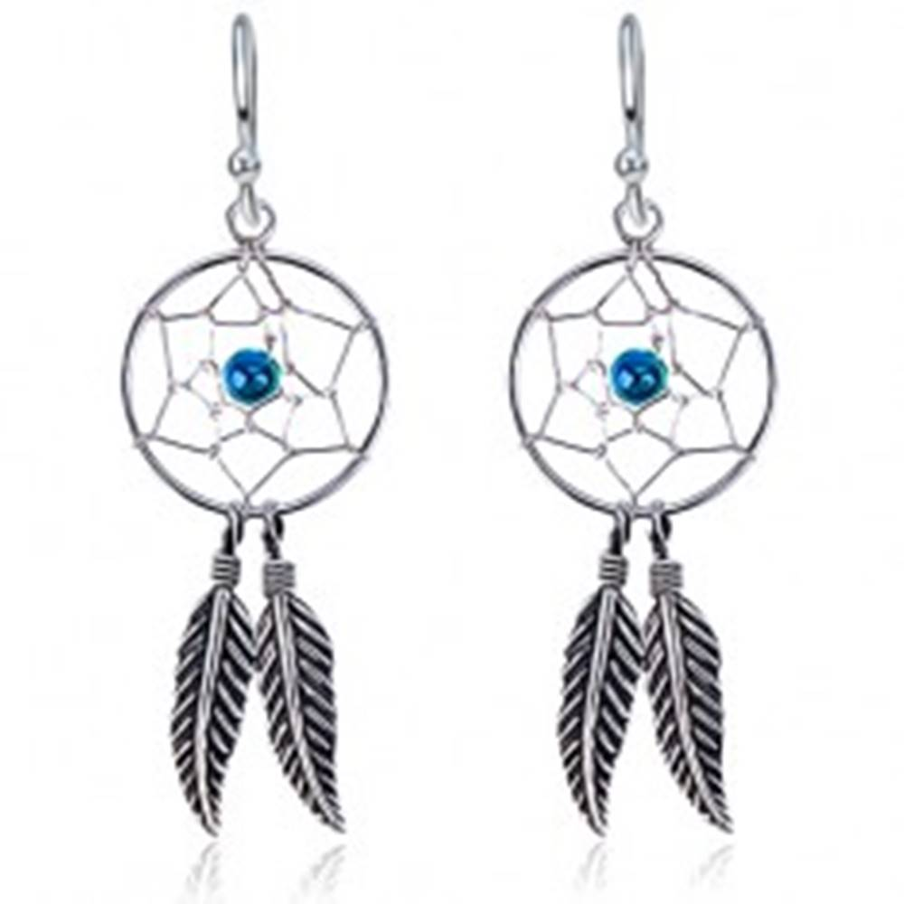 Šperky eshop Strieborné náušnice 925 s okrúhlym lapačom snov, modrá gulička, pierka