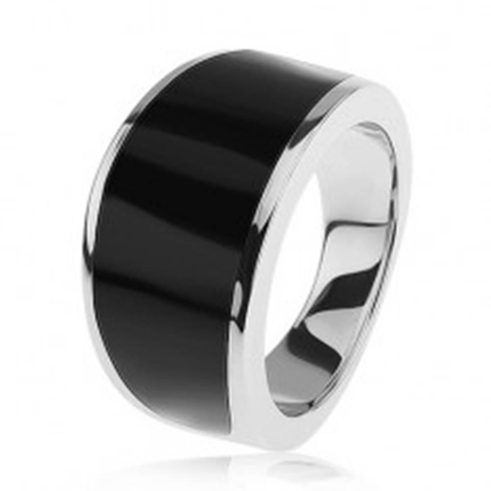 Šperky eshop Strieborný 925 prsteň - čierny glazúrovaný pás, lesklý a hladký povrch - Veľkosť: 54 mm