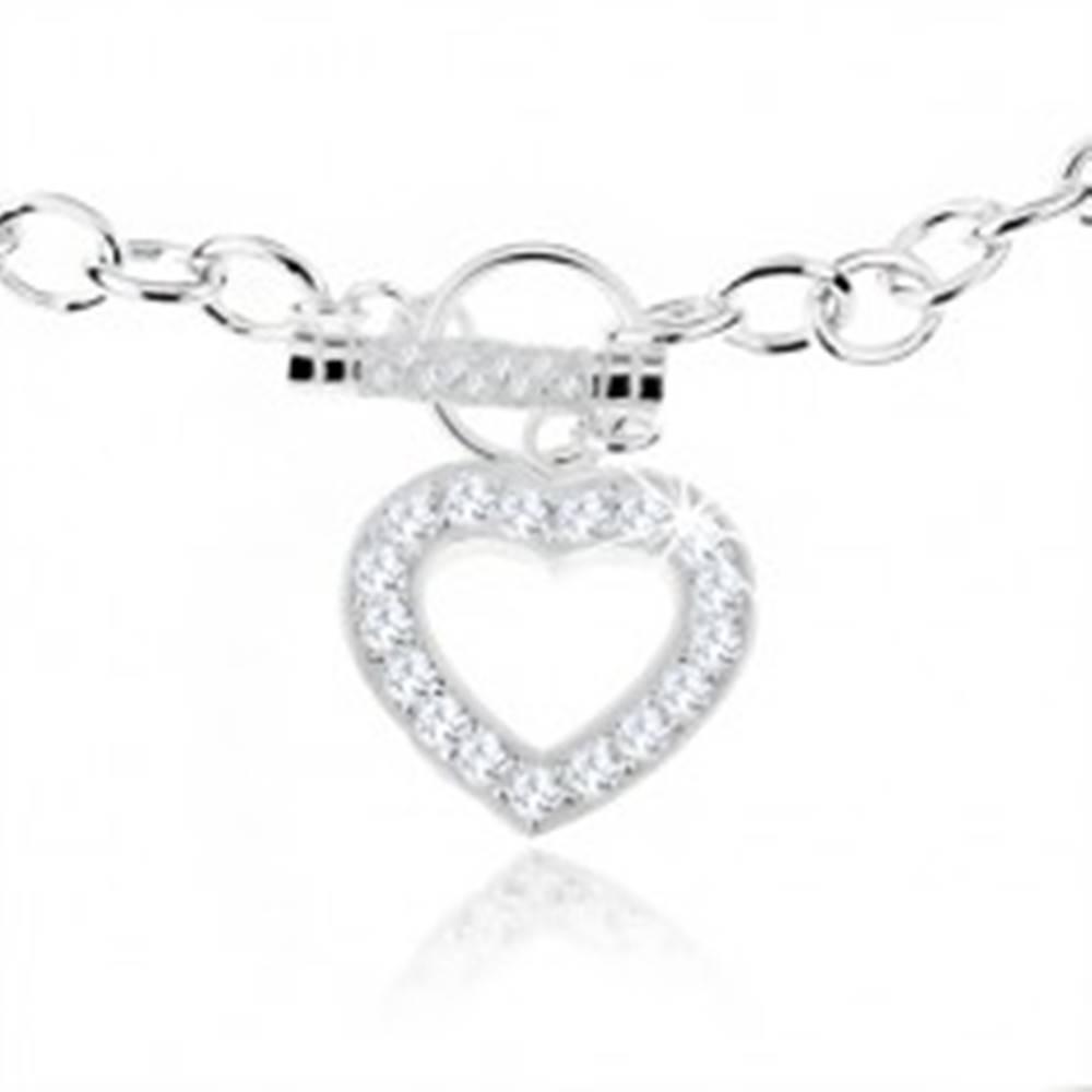 Šperky eshop Strieborný náhrdelník 925, masívna retiazka, zirkónová kontúra srdca