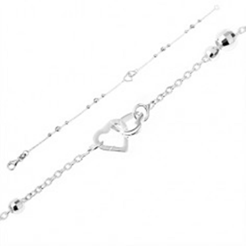 Šperky eshop Strieborný náramok 925 - jemná retiazka s ligotavými guľôčkami, obrysy sŕdc