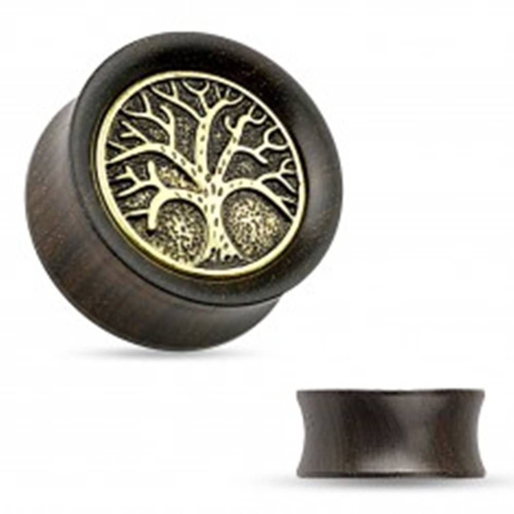 Šperky eshop Tunel do ucha z ebenového dreva, vyrezávaný košatý strom, čierna patina - Hrúbka: 10 mm