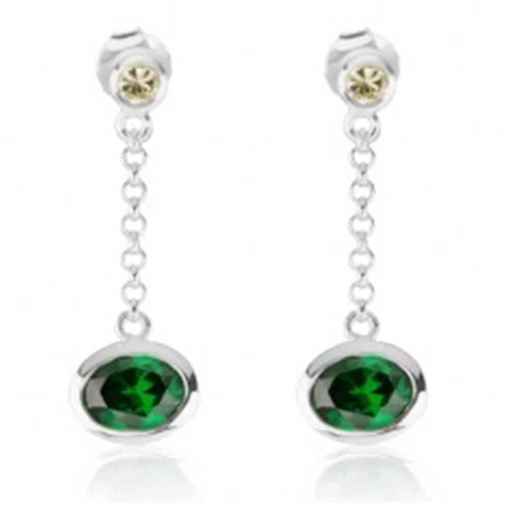 Šperky eshop Visiace náušnice zo striebra 925, svetlozelený a smaragdovo zelený zirkón, retiazka