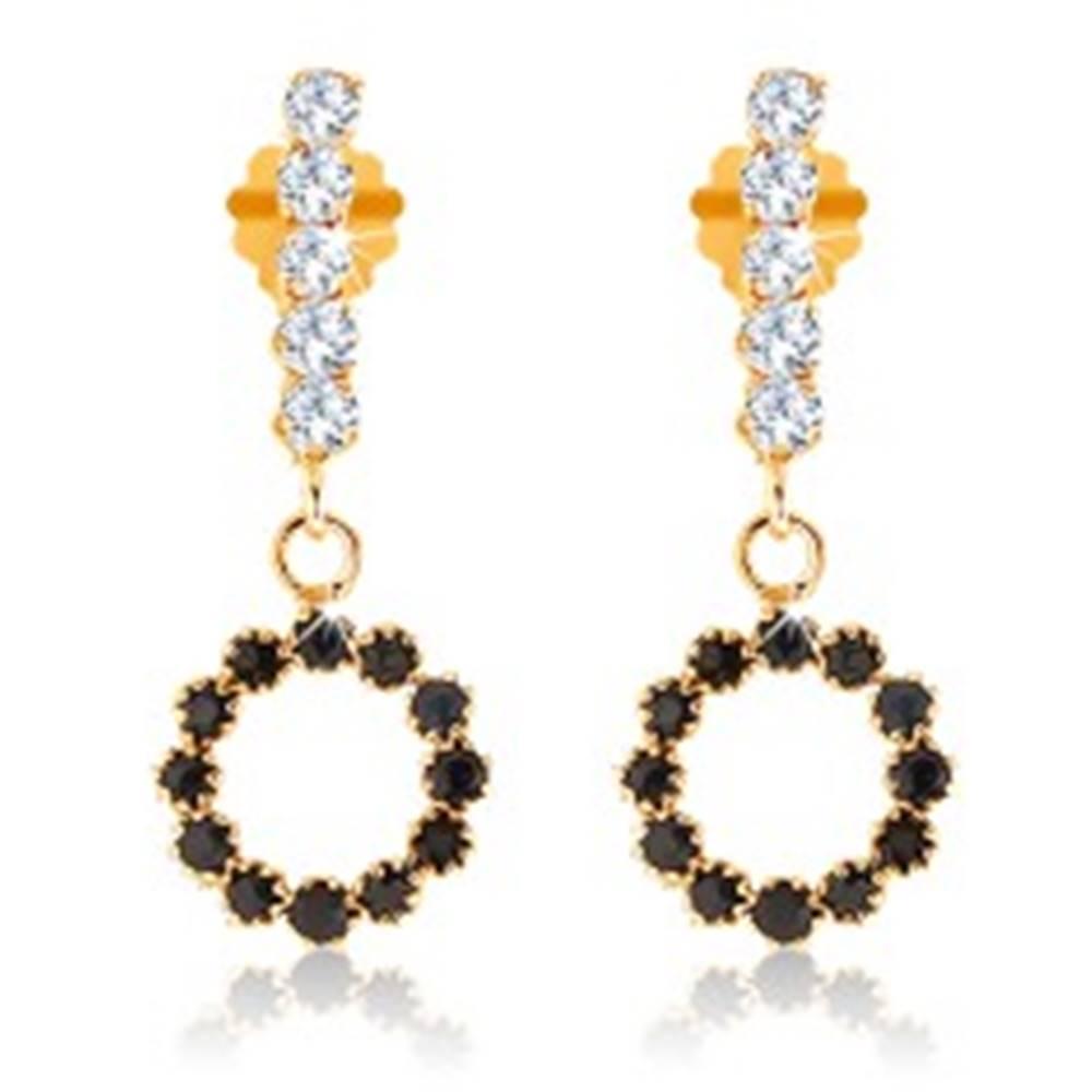 Šperky eshop Zlaté náušnice 375 - pás čírych kamienkov a obrys kruhu vykladaný zafírmi