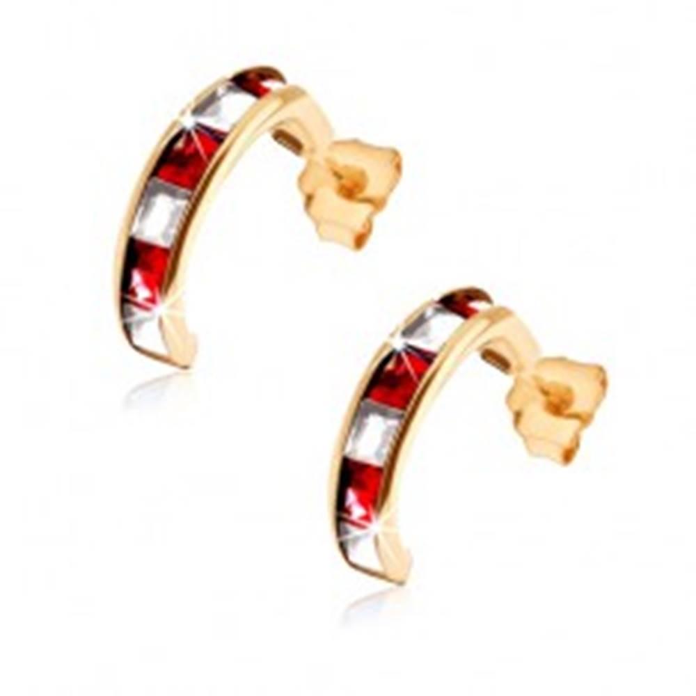 Šperky eshop Zlaté náušnice 375 - polkruhy so syntetickými červenými rubínmi a čírymi zirkónmi