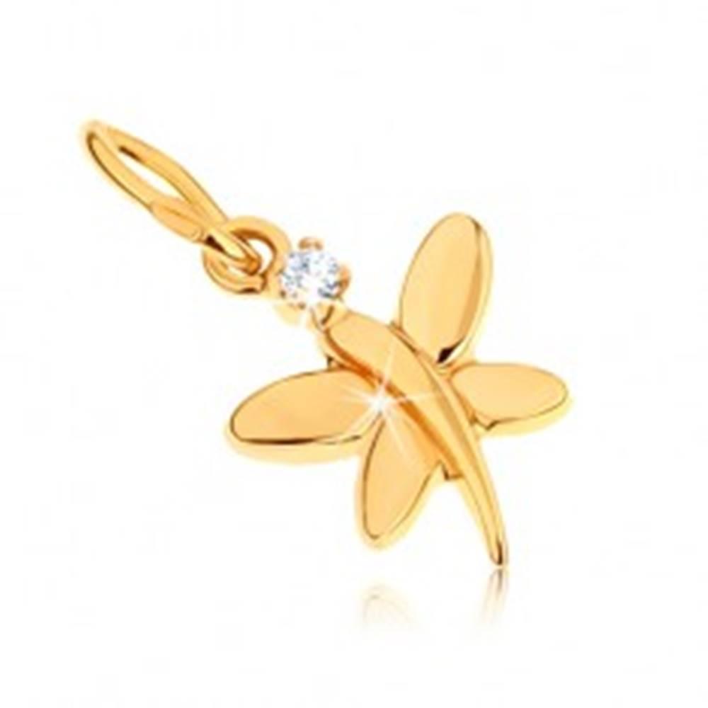 Šperky eshop Zlatý prívesok 375 - lesklý motýlik zdobený okrúhlym zirkónom v čírej farbe