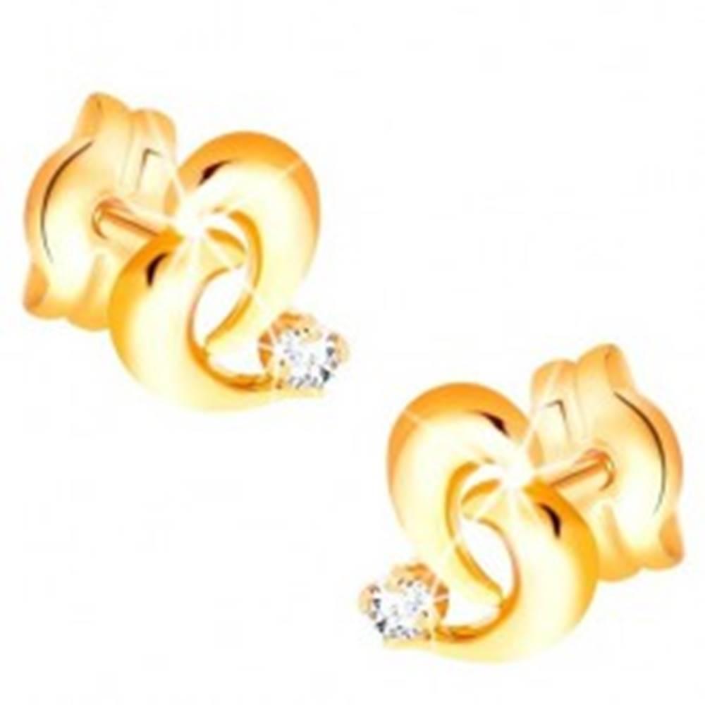 Šperky eshop Briliantové zlaté náušnice 585 - obrys nepravidelného srdca, diamant čírej farby