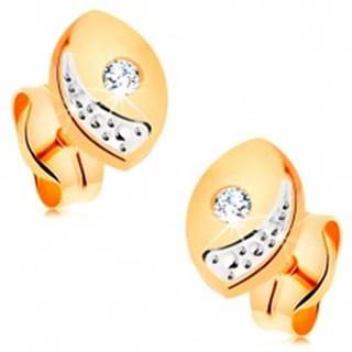 Briliantové zlaté náušnice 585 - širšie oblé zrnko s čírym diamantom, puzetky