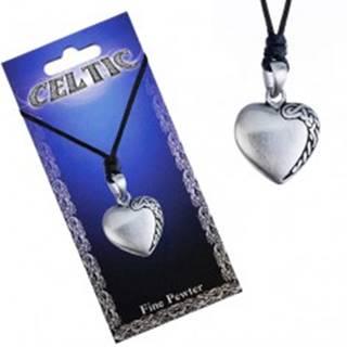 Čierny šnúrkový náhrdelník, kovový prívesok srdca, keltský uzol