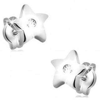 Diamantové náušnice z bieleho 14K zlata - lesklé hviezdičky, číry briliant