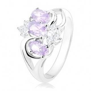 Ligotavý prsteň striebornej farby, svetlofialové ovály, číre zirkóny - Veľkosť: 49 mm
