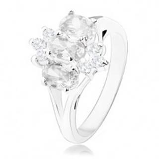 Ligotavý prsteň v striebornom odtieni, oválne a okrúhle zirkóny čírej farby - Veľkosť: 49 mm