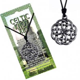Náhrdelník - čierna šnúrka a kovový prívesok keltský uzol