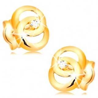 Náušnice v žltom 14K zlate - dva prepojené prstence, briliant uprostred