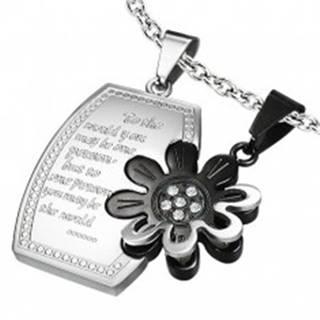 Oceľový dvojprívesok - obdĺžnik, kvet a zirkóny