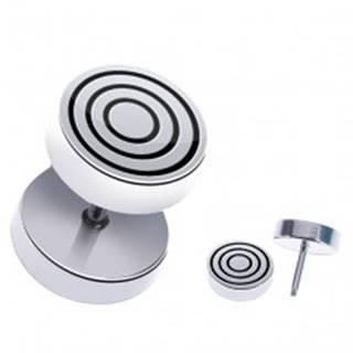 Oceľový fake piercing do ucha - okrúhly s čiernymi kruhmi