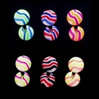 Piercing do jazyka - farebné vlnky - Farba piercing: Čierná - Červená