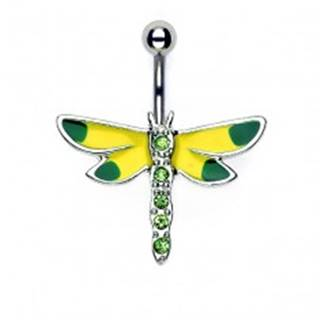 Piercing do pupku žlto - zelená vážka