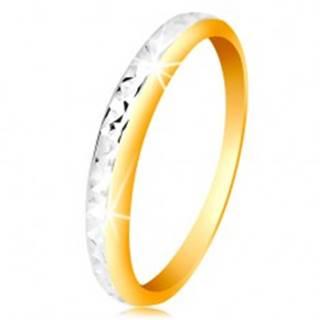 Prsteň v 14K zlate - dvojfarebná obrúčka, drobné ligotavé zárezy - Veľkosť: 50 mm