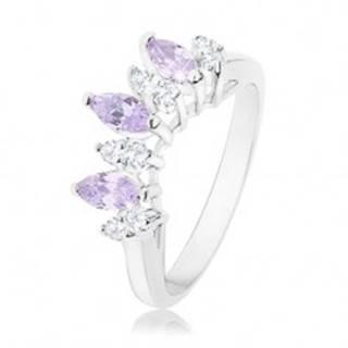 Prsteň v striebornej farbe, číre a svetlofialové zirkónové zrnká - Veľkosť: 54 mm